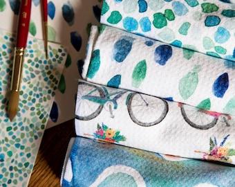 Watercolor Kitchen Towel - Waffle Weave Microfiber Dish Towel - Tea Towel - Gift Idea