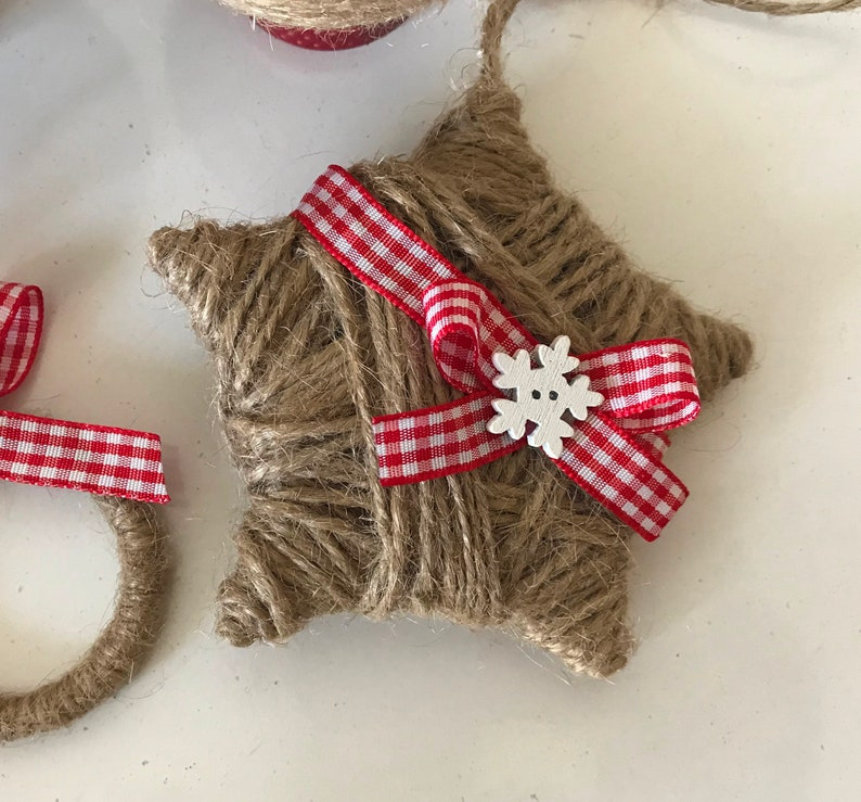 Set of 4  twine ornaments for rustic Christmas decor Country home decor Housewarming gift Wreath ornament Star ornament Farmhouse xmas decor