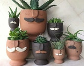 Preorder! - Mustache Moodies - Handmade Plant Daddy Face Planters with Drainage