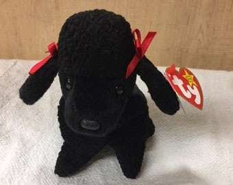 96df2904c62 GIGI Ty Beanie Baby 1997 Black Poodle Dog w  Tag error Plush Toy rare  retired