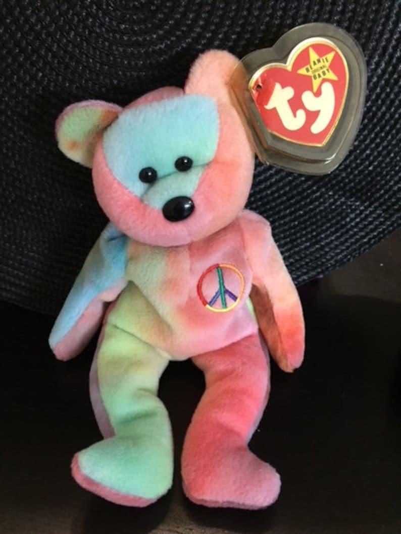 fb753c57f6c Very Rare PVC Beanie Baby Peace Bear 1996 retiredTy beanie