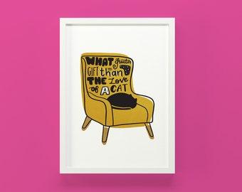 Cat Print, Cat wall art, cat art, cat nursery art, cat lover gift, cat illustration, cat poster, cat lover gift, pet art, cats