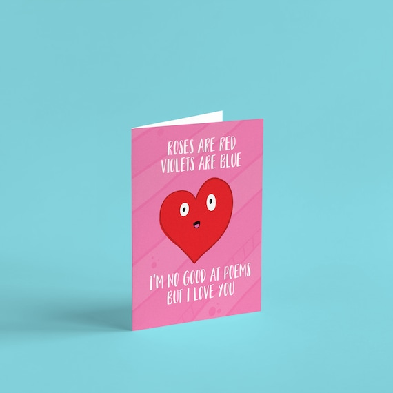 Roses Are Red Violets Are Blue Poem Card Valentine S Etsy