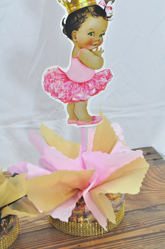 Royal Gold Ethnic Little Princess Coral Turquoise Baby shower 1st birthday  table centerpiece decor