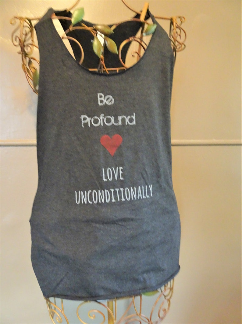 Be profound love women's hand printed tank top image 0
