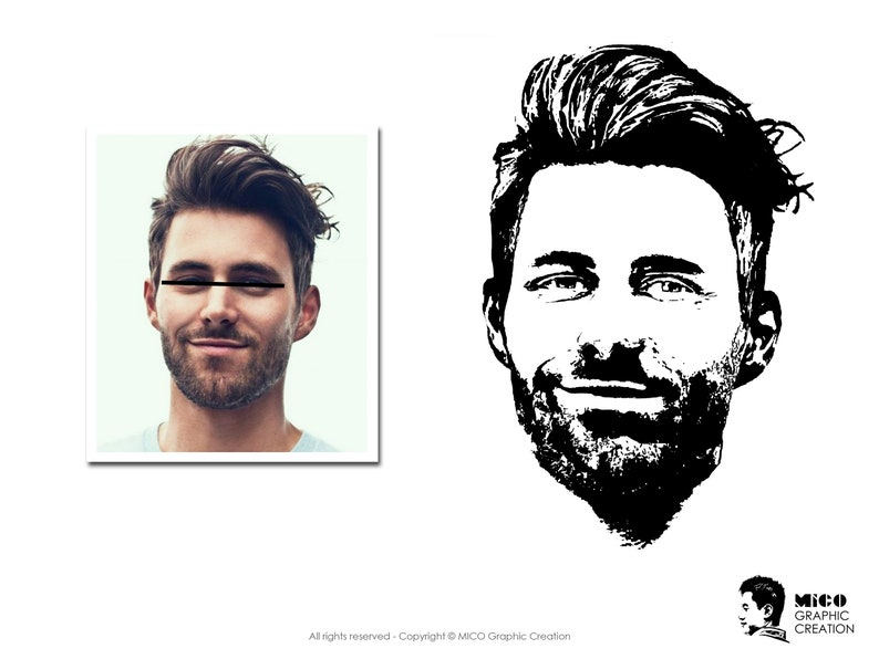 Digital Graphic file custom made one person Black and White POP ART styles Convert Portrait to vector graphic Personalized