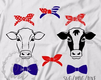 Cow Usa Flag Bandana Silhouette Svg Cutting Files Clip Art Etsy