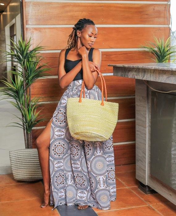 Yellow & White Handwoven Sisal Sling Bag; Kiondo bag; African tote bag; Handbag; Sisal tote bag; African basket; Handwoven bag;Sling bag