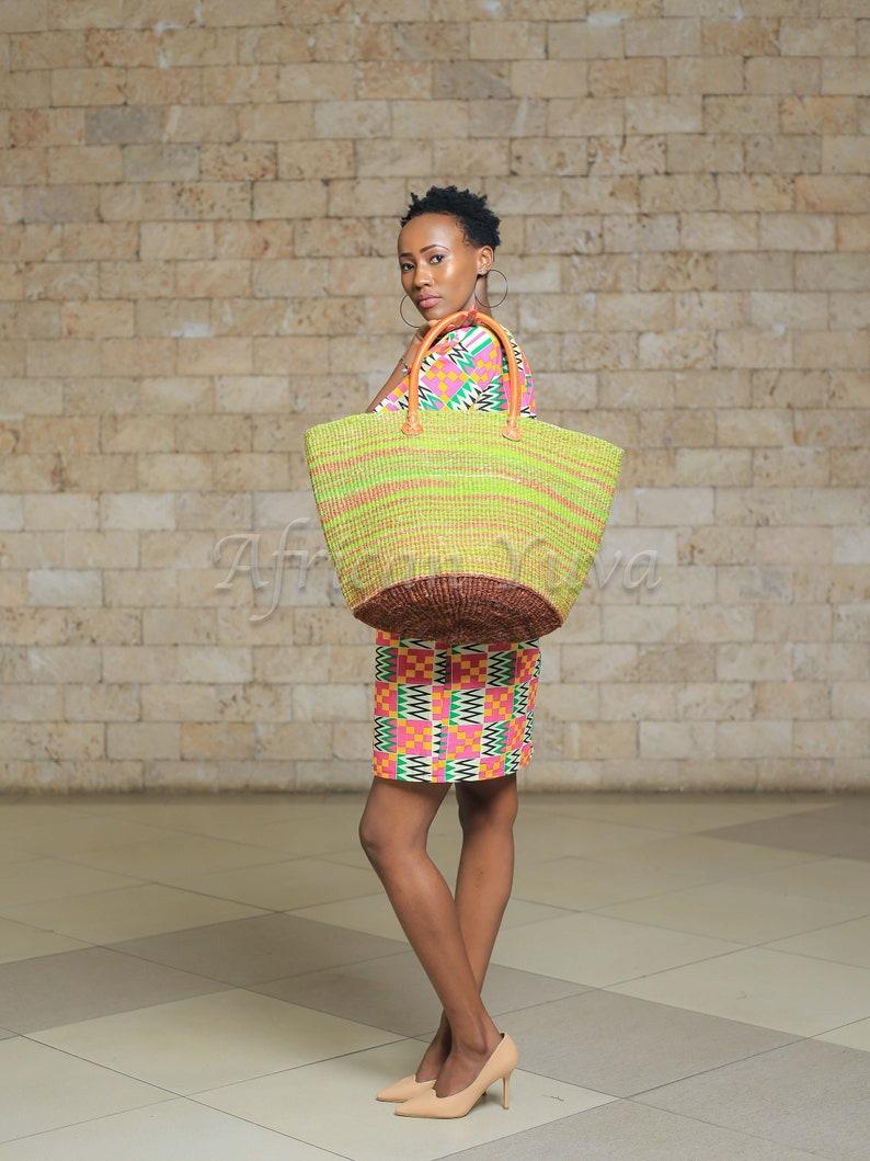 Green /& Brown Sisal Basket; Kiondo bag; African tote bag; Handbag; Sisal tote bag; African basket