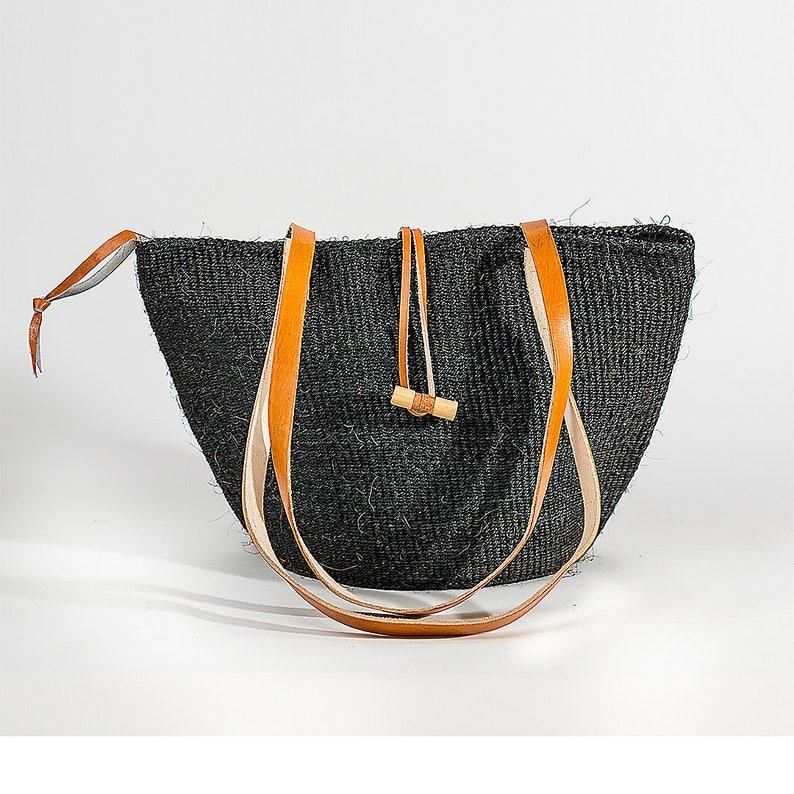 Black HandWoven Sisal Basket; Kiondo bag; African tote bag; Handbag; Sisal tote bag; African basket