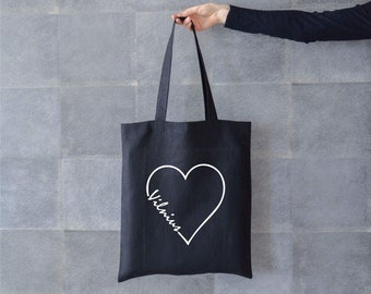 229824996327 Love Vilnius canvas tote bag. Black linen vegan bag with custom city name  in heart print. Handmade natural shopping bag for Lithuania lovers