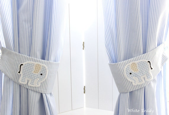 Vorhang Gardine Elefant Streifen Hellblau Schal Kinderzimmer Etsy