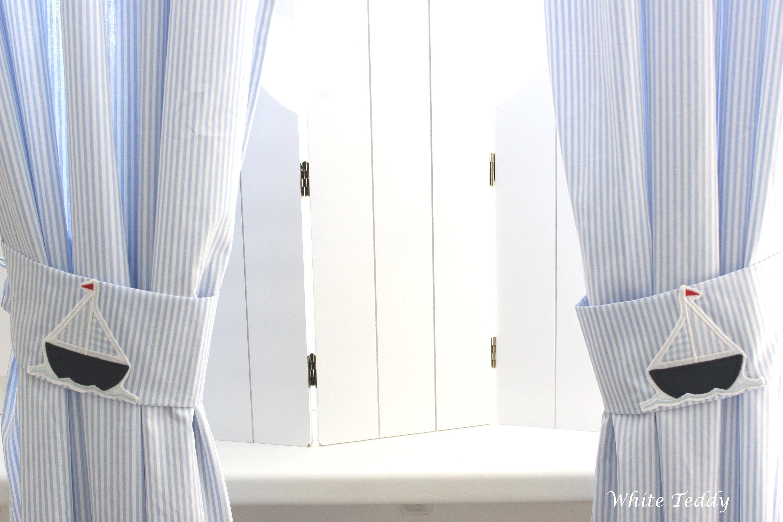 Vorhang gardine segelboot streifen hellblau schiff maritim - Vorhang maritim ...