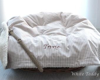 Dog blanket Teddyfell Vichy Check beige/white Cuddly blanket Dog Basket blanket dog blanket Plush blanket Animal blanket