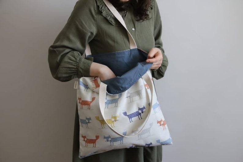 Fox Tote Foldable Shopping Bag Reusable Grocery Bag Cloth Bag Market Tote Washable Shopping Bag Eco Friendly Shoulder Bag Useful Gift