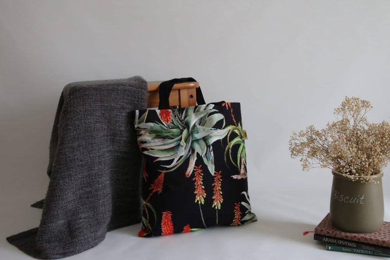 Cotton Shopping Bag Washable Shopping Bag Floral Tote Bag Botanical Tote Bag Black Tote Reusable Shopping Bag Washable Grocery Bag