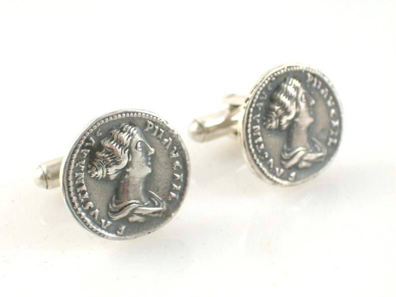 Cufflinks ancient Rome Faustyna denar sterling silver 925 gift for him copy coin birthday gift unique gift cufflinks gift for husband