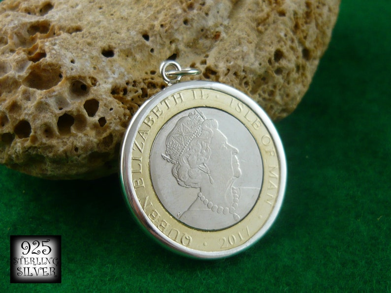 Leather Necklace Seagull Birds Hand Made Jewelry Isle of Man Coin Pendant 2017 Coin Bimetal Silver Ag 925 Tower Europa Coin