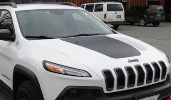 Cherokee KL Hood Decal jeep trailhawk style blackout Matte Black Fits 2014-2019