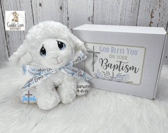 Baptism Lamb Gift Box, I Am A Child of God Personalized Baptism Gift, Custom Baptism Lamb Bible Verse Gift Box, Stuffed Animal Baptism Gift