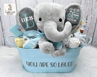 Baby Boy Elephant Gift Basket, Personalized New Baby Gift, Baby Stats Elephant, Elephant Bodysuit, Newborn Gift Basket, Custom Baby Boy Gift