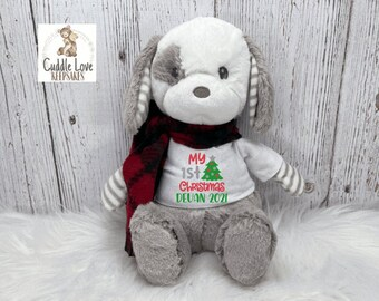 My 1st Christmas Puppy Dog 2021, Baby's First Christmas Plush Puppy, Personalized Baby Christmas Gift, Custom Baby's 1st Christmas Plush