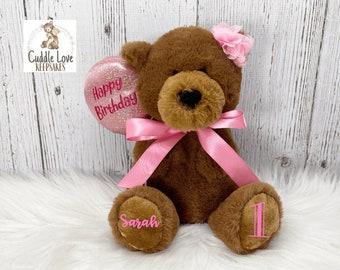 Happy Birthday Teddy Bear, Personalized Birthday Bear, First Birthday Bear, Custom Child Birthday Gift, Happy 1st Birthday Gift Idea