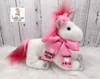 Unicorn Flower Girl Gift, Wedding Party Gift, Flower Girl Proposal Stuffed Animal Unicorn, Flower Girl Gift Idea, Custom Flower Girl Gift