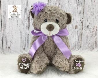 Thank You Flower Girl Teddy Bear Plush Lavender Bridal Party Gift