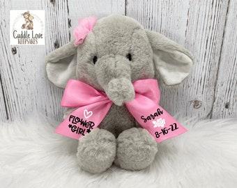 """8"""" Flower Girl Elephant, Flower Girl Proposal Gift, Personalized Flower Girl Stuffed Animal, Custom Flower Girl Gift, Plush Elephant Wedding"""