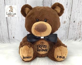 Ring Bearer Teddy Bear, Flower Girl Gift, Wedding Party Gift, Ring Bearer Proposal, Flower Girl Proposal, Wedding Gift Stuffed Animal Idea
