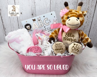Baby Girl Giraffe Theme Gift Basket, Personalized New Baby Gift, Baby Stats Giraffe, Baby Show Gift, Newborn Gift Basket, Custom Baby Gift