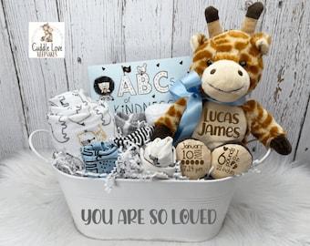 Baby Boy Giraffe Theme Gift Basket, Personalized New Baby Gift, Baby Stats Giraffe, Baby Shower Gift, Newborn Gift Basket, Custom Baby Gift
