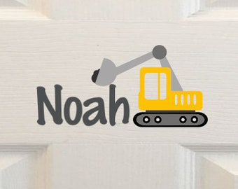 Kids Room Name Decal,Wall Decal, Custom Door Sign,Construction Decal, Kids Wall Art, Truck Decal, Boy Door Name, Vinyl Decal, Kids Door Sign
