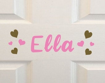 Personalised Bedroom Heart Name Door Sign Plaque Baby Girl Rose Gold Gift Xmas