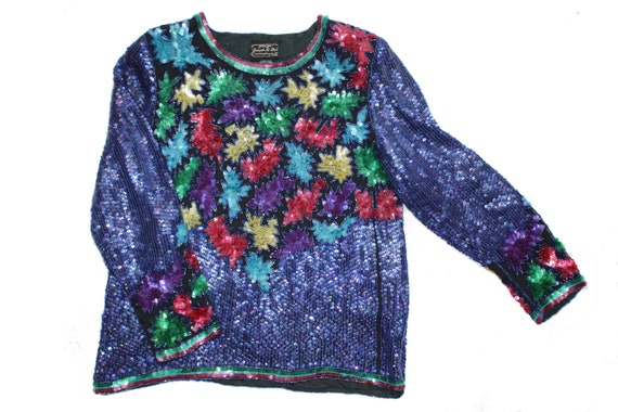 Vintage Floral Sequin Embroidered Top