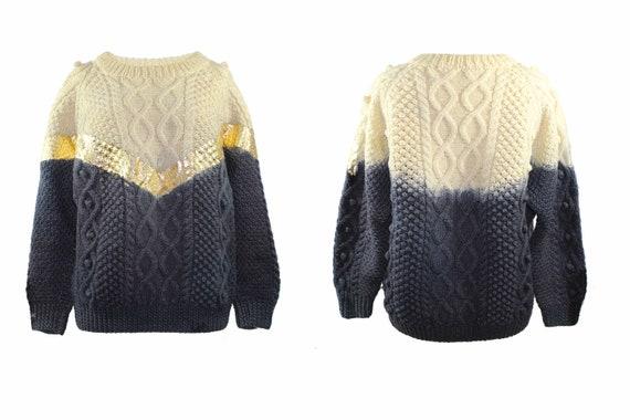 Cool Vintage Tie Dye Gold foiled Chunky Wool Knitt