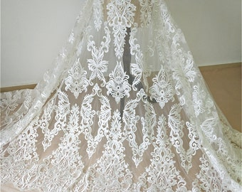 Soft French Lace Fabric By The Yard Tulle Guipure Lace Fabric for Bridal Wedding Dress Exquisite Embroidery Lace Fabric with Bird