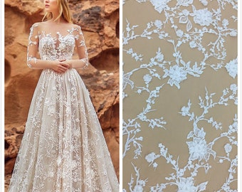 bbde82574180 3D Lace Fabric Beaded Lace Fabric 3D Flower Lace Fabric Hand made Lace  Embroidery Lace Fabric Wedding Lace 3D Spitze Stoff
