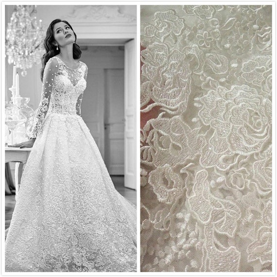Fashion Sequins Lace Fabric French Lace Alencon Lace Bridal Etsy