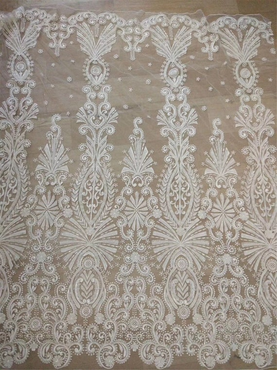 super delicat beads lace fabric pearls bridal lace fabric beading lace for wedding dress Heavy beaded lace fabric