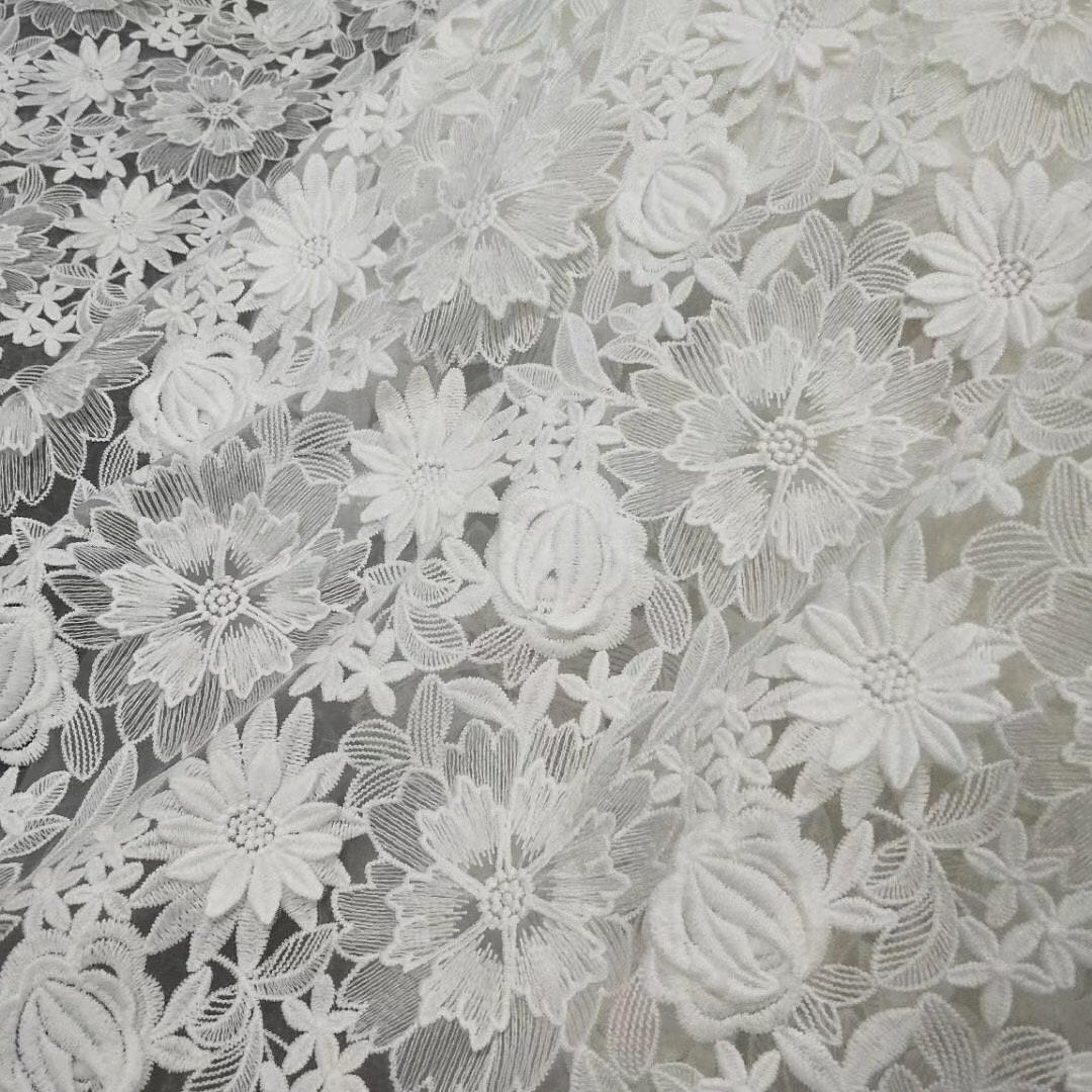 tissu dentelle 3D avec 3d floral, Français dentelle tissu haute broderie couture, coton broderie haute dentelle tissu à fleurs, tissu dentelle tulle 46e854