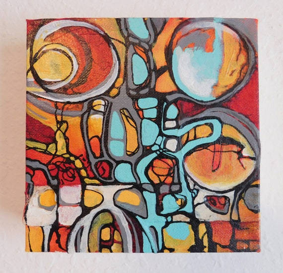 Teal Pathways Original Art Abstract Painting Wall Art Acrylic Painting On Canvas Teal Orange Black Lines