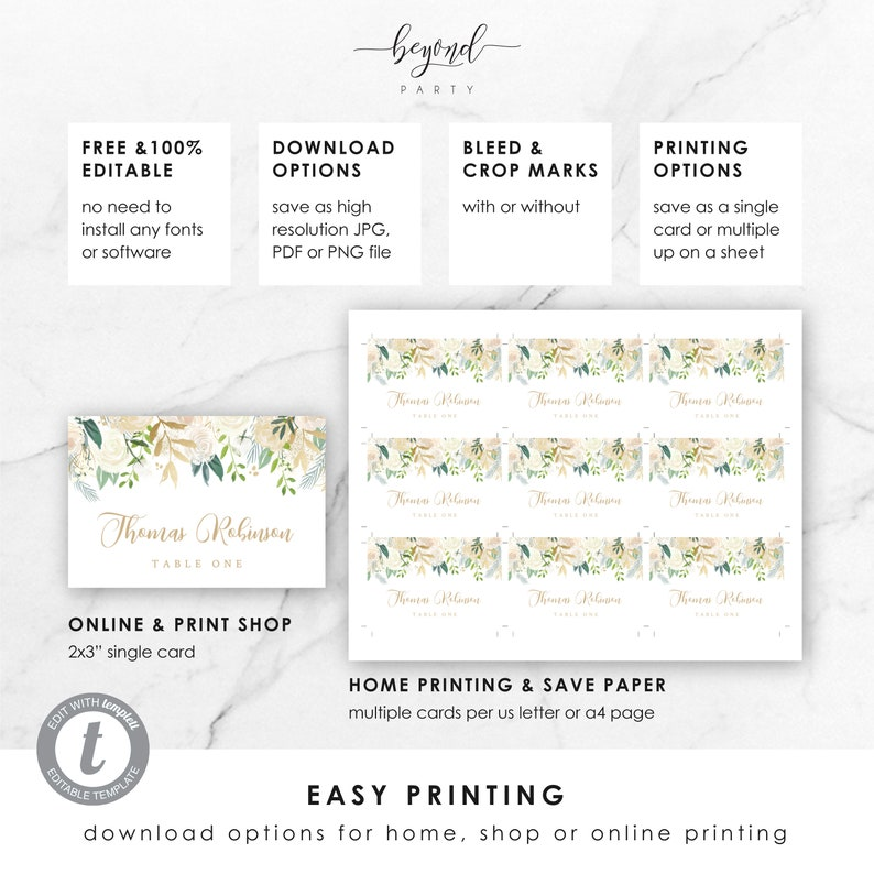 Place Card Watercolour Flower Instant Download Template 2x3 Wedding Editable Templett