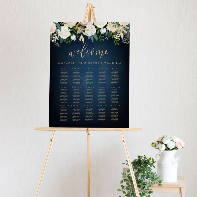 Instant Download Template Editable BPBW 8x10 Templett Navy Blue Wedding Seating Chart 18x24 and 24x36