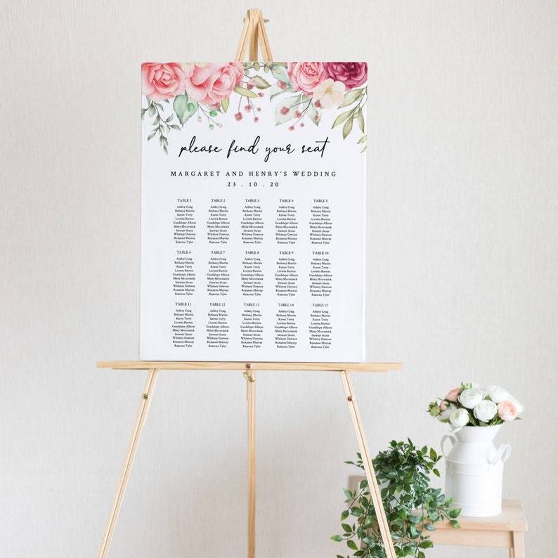 8x10 Instant Download Template Seating Chart Templett 18x24 and 24x36 Watercolour Flower Editable Wedding