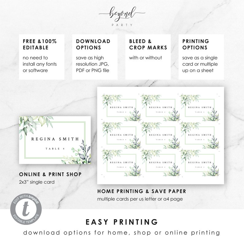 Place Card Wedding BP009 2x3 Instant Download Template Templett Editable Green Leaves