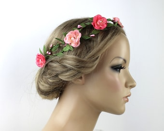 d3dd173e7039c4 Haarschmuck Braut Haarkranz Blütenkranz Hochzeit Boho Blumenkrone Vintage  Floral Krone Kopfschmuck