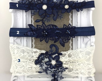 Garter Lace Flowers Wedding Garter Bridal Gift Custom Made Handmade Blue