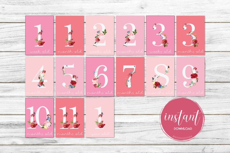 Baby First Moments Pink Theme Instant Download Baby Shower Gifts Newborn Keepsake Baby Milestone Cards Baby Girl Floral Photo Prop